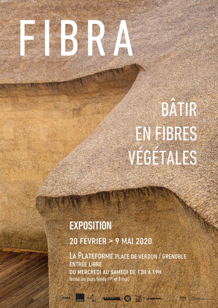 Affiche de l'exposition FIBRA, bâtir en fibres végétales présentée à Grenoble en 2020
