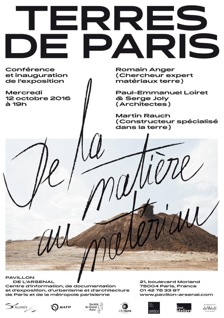 Affiche de l'exposition Terre de Paris de la matière au matériau au Pavillon de l'Arsenal avec amàco