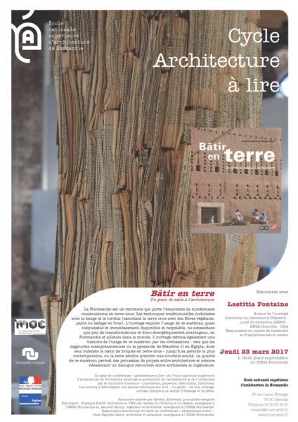 Laetitia Fontaine, directrice d'amàco, présente le 23 mars 2017 le livre « Bâtir en Terre, Du grain de sable à l'architecture » dont elle est co-auteur à l'Ecole Nationale d'Architecture de Normandie