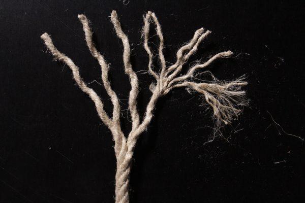 La structure hiérarchique de la corde multiplie les contacts entre les fibres. Ce sont sur ces points de contact que s'exercent les forces de frottement qui bloquent les fibres dans la corde – crédit : amàco